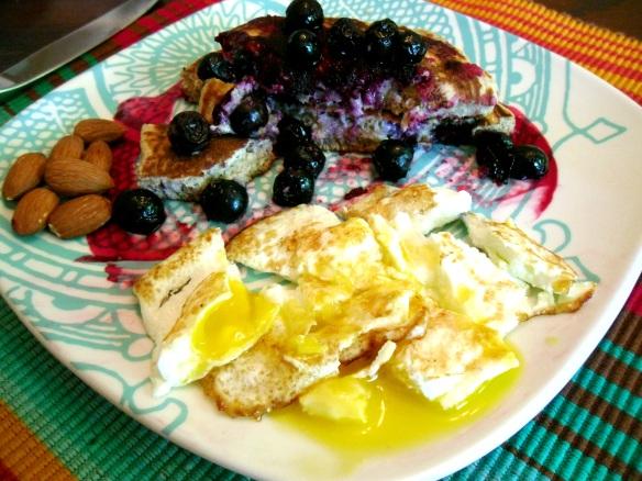 half eaten blueberry pancakes